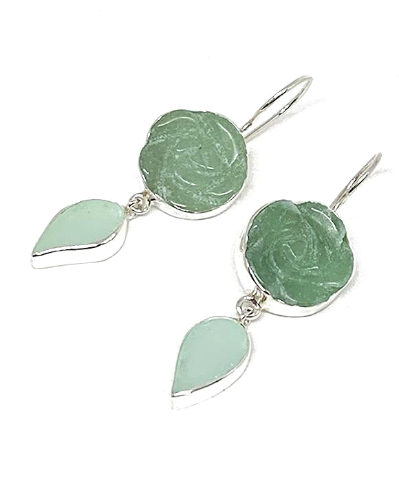 Hand Carved Aventurine Stone Flower with Soft Mint Sea Glass Leaf Double Drop Earrings
