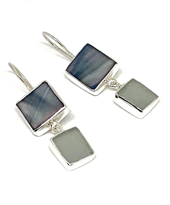 Dark Grey Mother of Pearl & Grey Sea Glass Double Drop Earrings