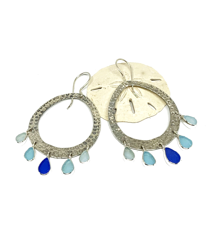 Five Drop Light Blue, Aqua & Soft Blue Sea Glass Hoop Earrings