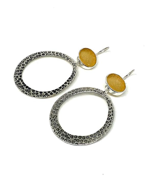 Amber Sea Glass Hoop Earrings