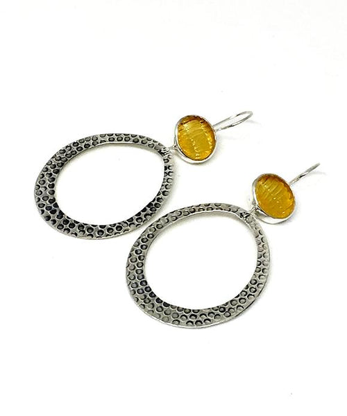 Textured Amber Sea Glass Hoop Earrings