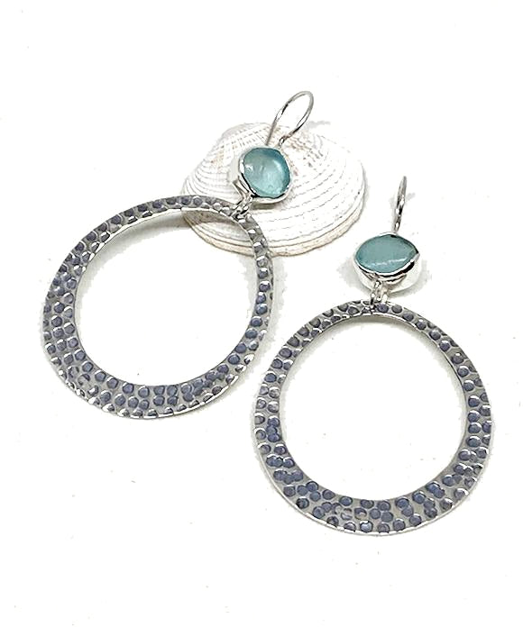 Bright Aqua Sea Glass Hoop Earrings