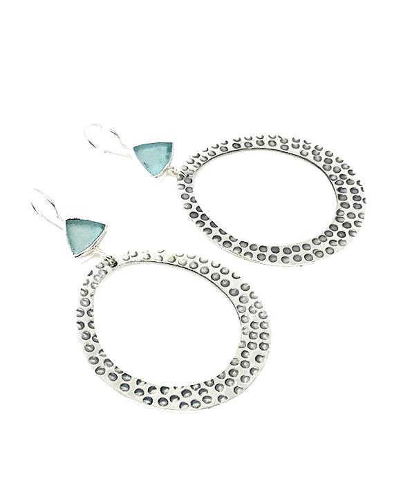 dadf3a52d403c Aqua Triangle Sea Glass Hoop Earrings