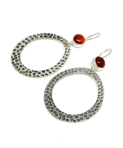 Carnelian Stone Hammered Hoop Earrings
