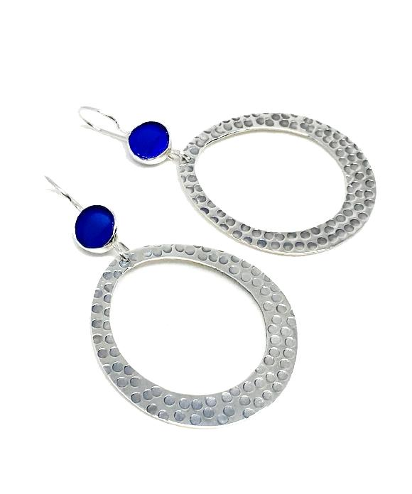 Round Cobalt Sea Glass Hoop Earrings