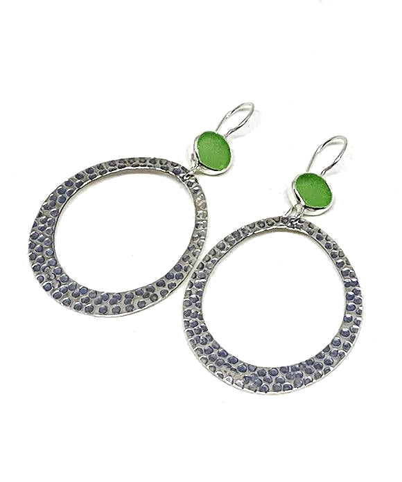Lime Green Sea Glass Hoop Earrings