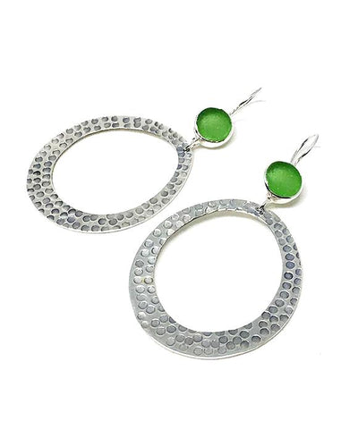 Round Green Sea Glass Hoop Earrings