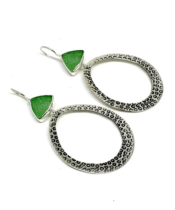 Triangle Green Sea Glass Hoop Earrings