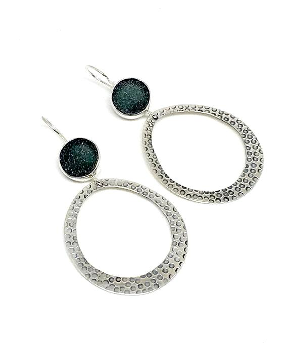 Dark Grey Sea Glass Hoop Earrings