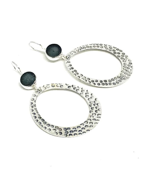 Round Gray Sea Glass Hoop Earrings