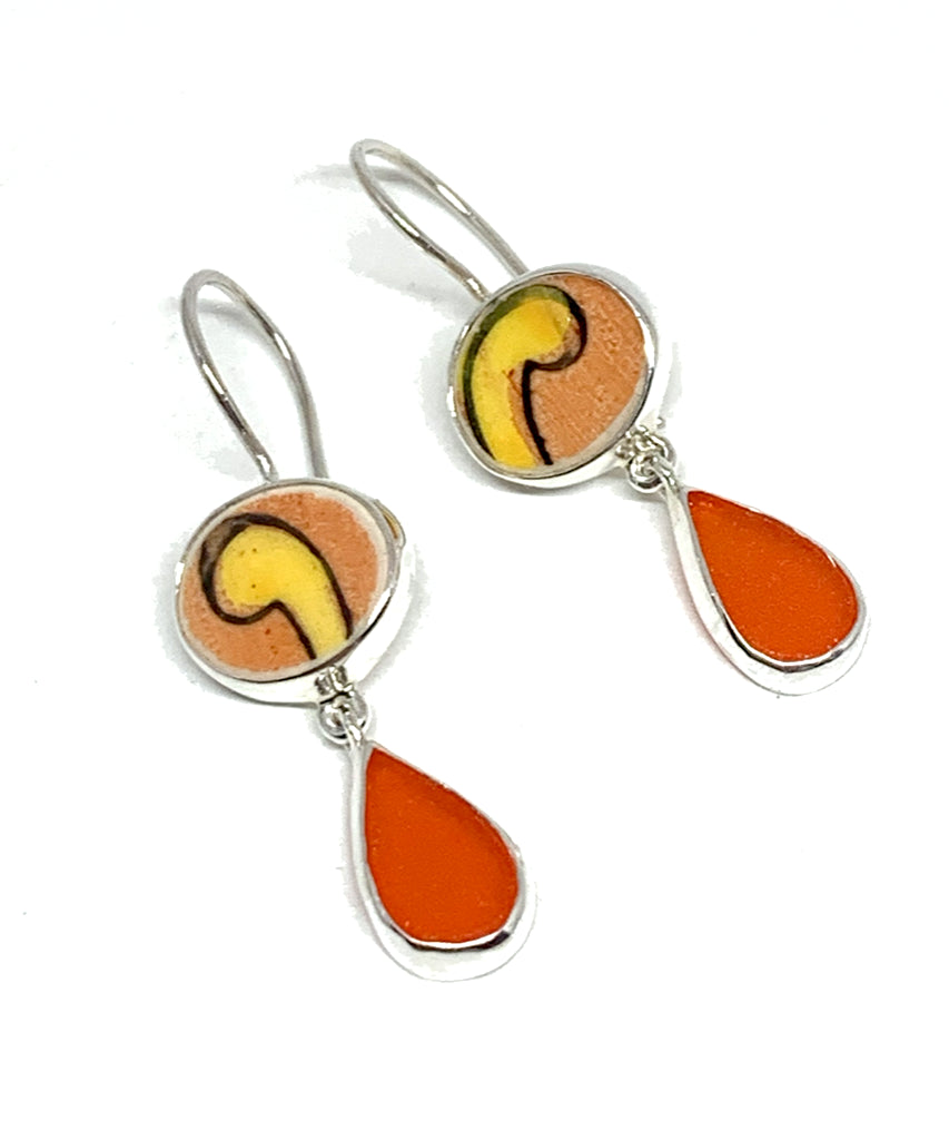 Orange & Yellow Vintage Pottery with Frosted Orange Glass Double Drop Earrings