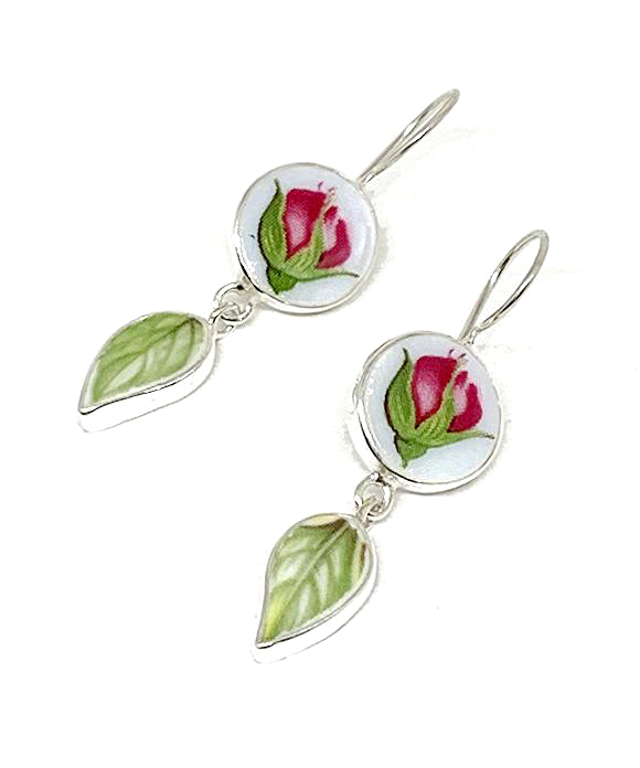 Rosebud and Green Leaf Vintage Pottery Double Drop Earrings