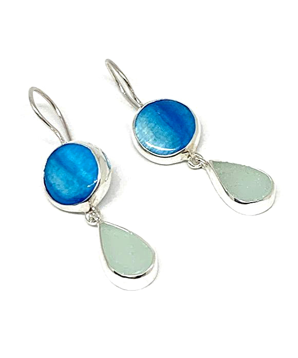 Turquoise Mother of Pearl & Soft Aqua Sea Glass Double Drop Earrings