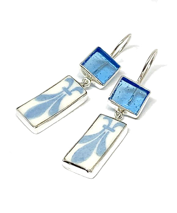 Aqua Stained Glass & Aqua and White Vintage Pottery Double Drop Earrings