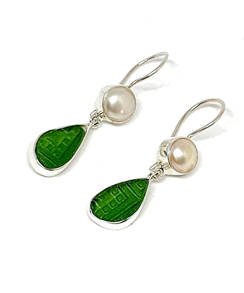 Textured Rich Green Sea Glass with Pearl Earrings Double Drop Earrings