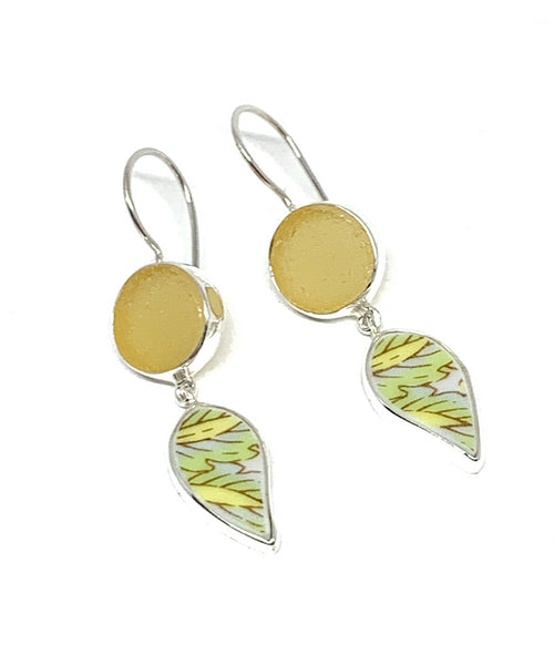 Yellow Sea Glass with Leaf Patterned Vintage Pottery Double Drop Earrings