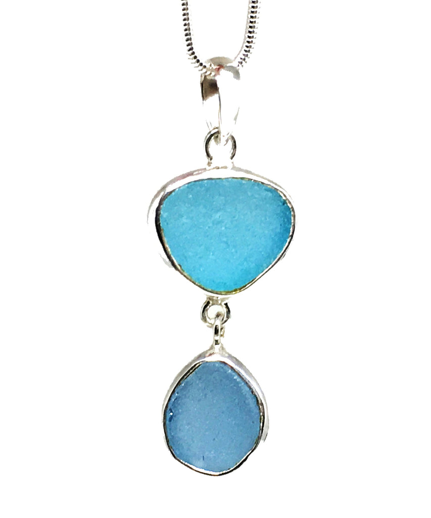 Aqua and Blue Sea Glass Double Pendant on Silver Chain