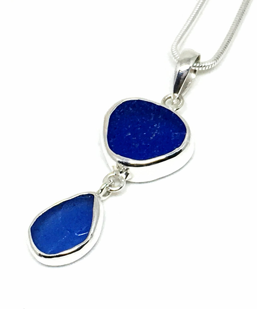 Cobalt and Blue Sea Glass Double Pendant on Silver Chain