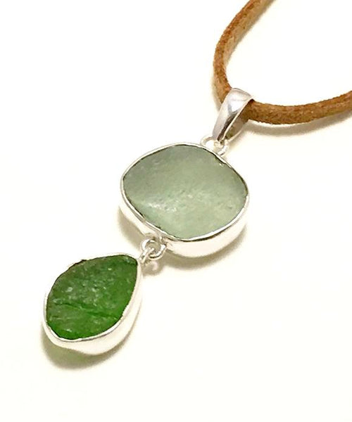 Coke Bottle Blue & Green Textured Sea Glass Double Pendant on Suede Cord