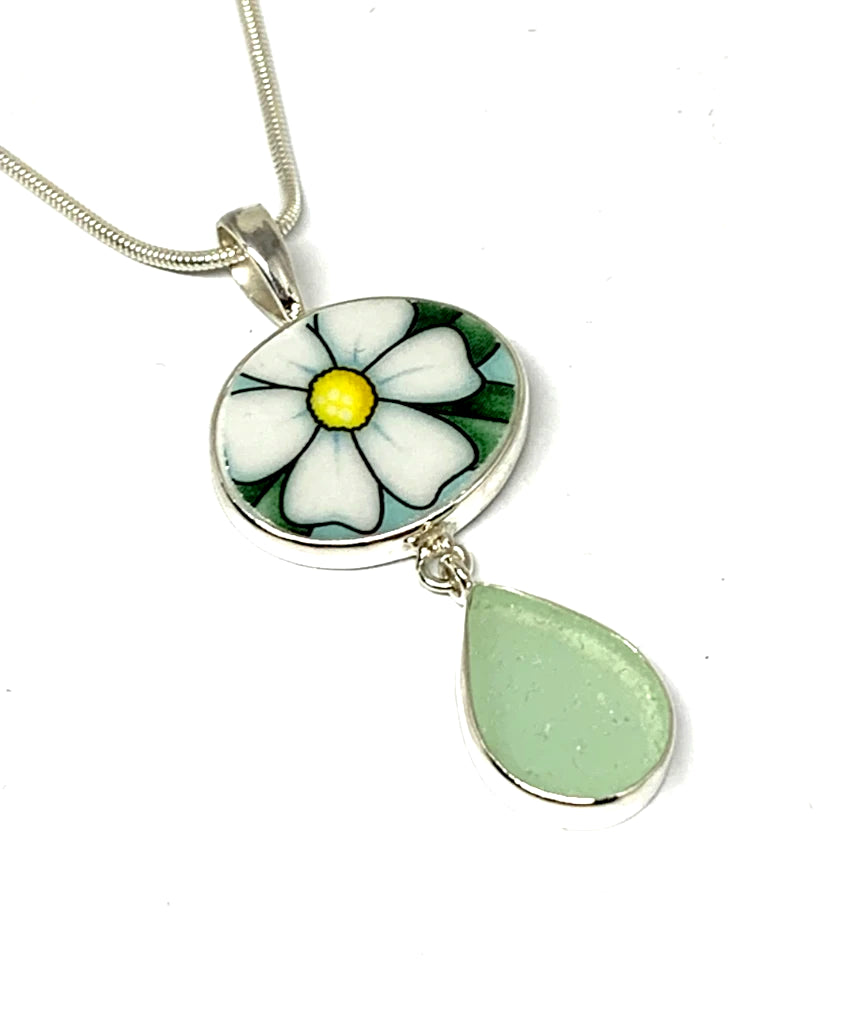 White & Yellow Flower Vintage Pottery and Light Aqua Sea Glass Double Pendant