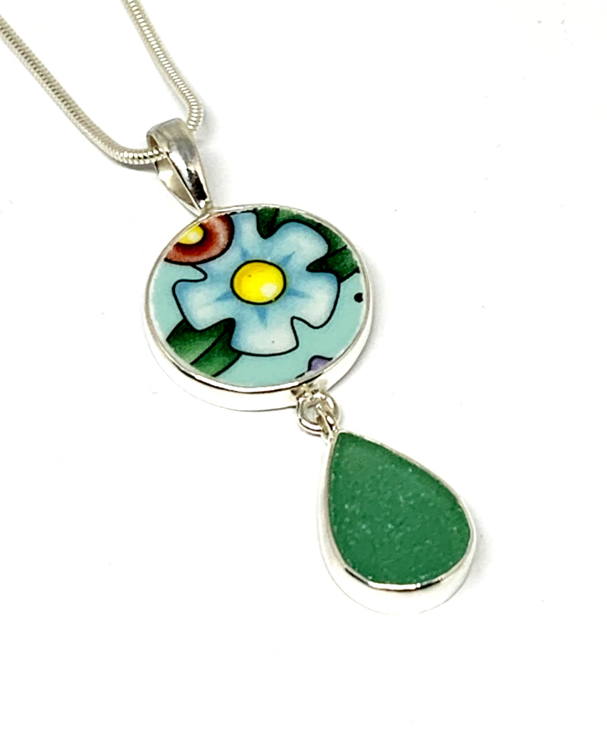 Turquoise & Yellow Flower Vintage Pottery and Aqua Sea Glass Double Pendant