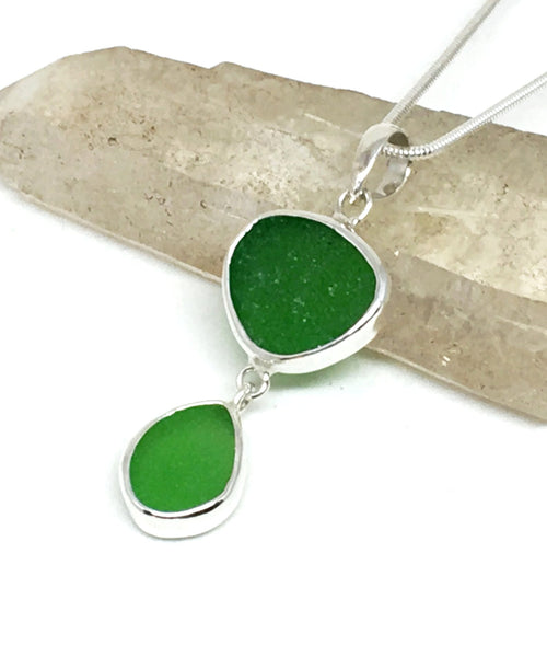 Green & Lime Green Sea Glass Double Pendant on Silver Chain