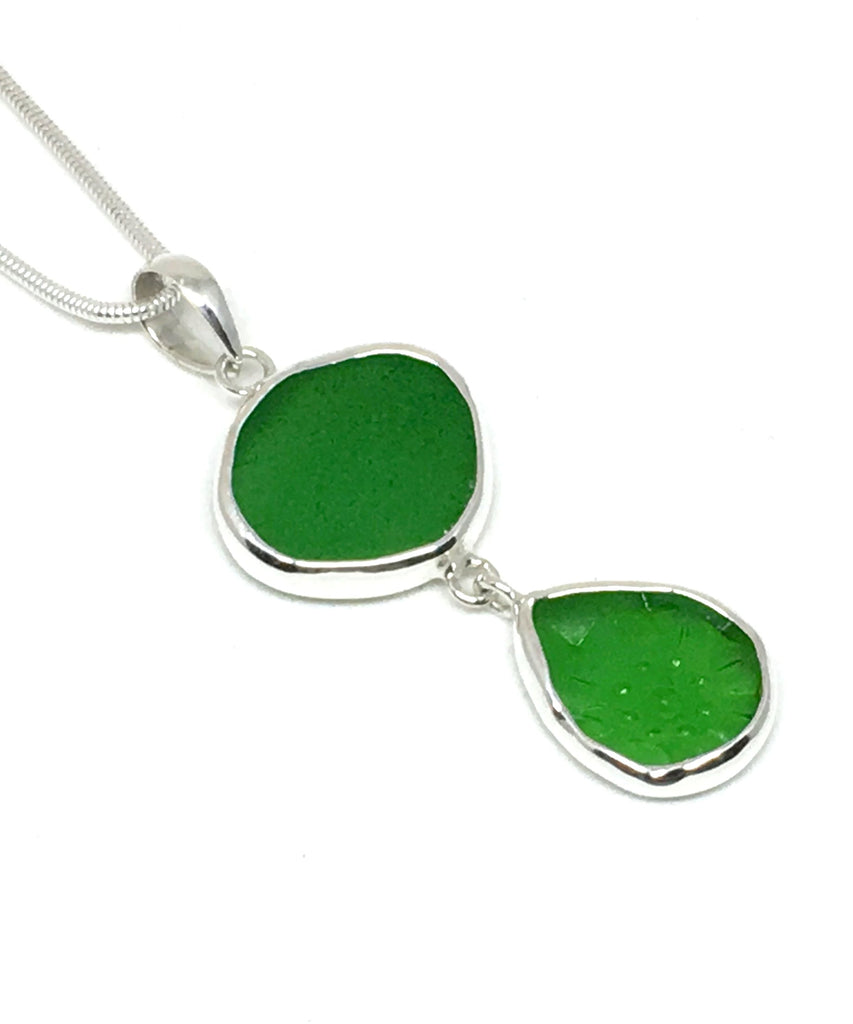Green & Textured Green Sea Glass Double Pendant on Silver Chain