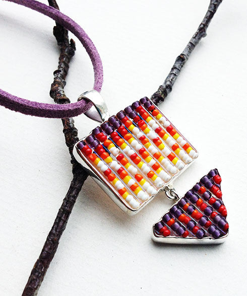 Orange, Purple and White Beaded Glass Double Pendant on Suede Cord