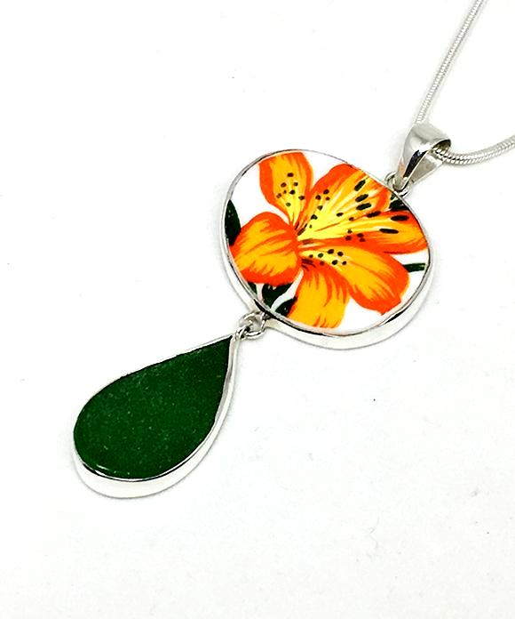 Orange Flower Vintage Pottery and Green Sea Glass Double Pendant