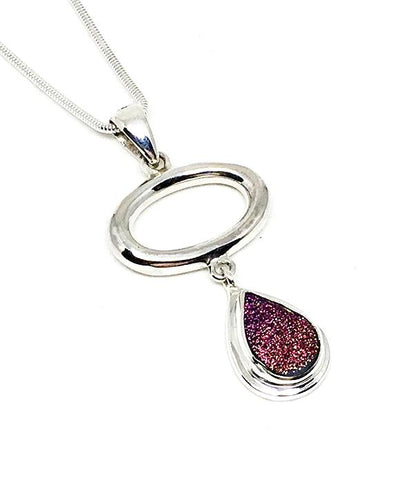 Pink Geode & Silver Loop Pendant on Sterling Silver Chain