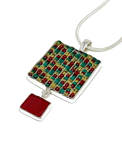 Rasta Colored Beaded Fused Glass Double Drop Pendant with Red Glass