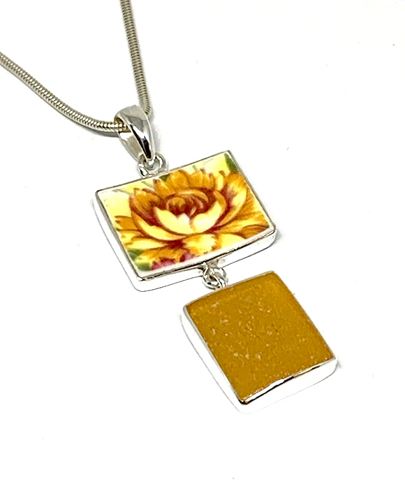 Yellow Flower Vintage Pottery and Amber Sea Glass Double Pendant