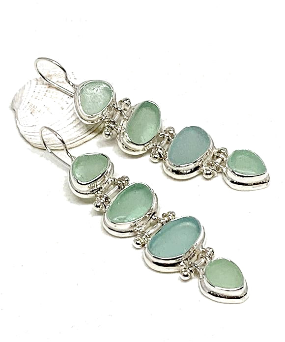 4 PIece Stacked Aqua Sea Glass Barbell Connection Earrings