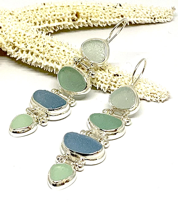 Four Piece Stacked Aqua Sea Glass Barbell Connection Earrings