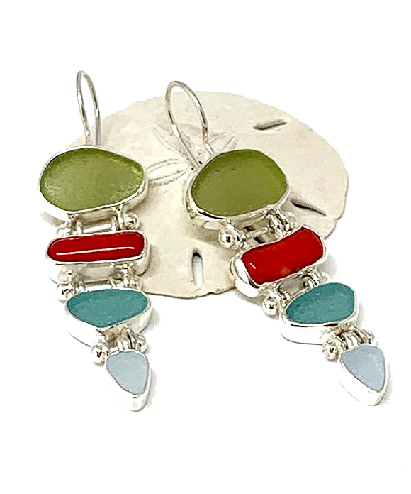 Light Olive, Aqua & Soft Blue Sea Glass with Red Coral Stacked Earrings