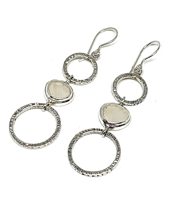 Textured Clear Sea Glass Triple Drop Hoop Earrings
