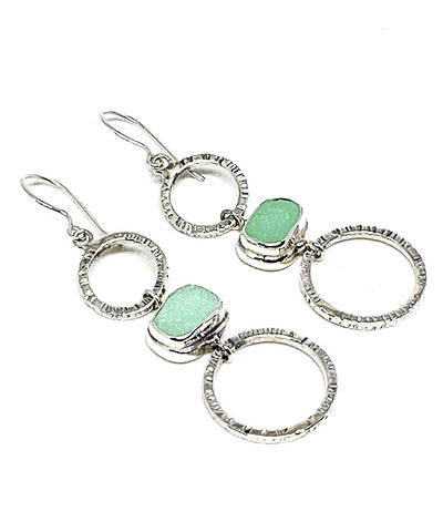 Jadite Green Sea Glass Triple Drop Hoop Earrings