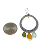Triple Drop Amber, Olive & Aqua Sea Glass Hoop Earrings