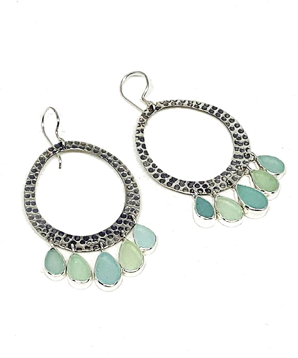 Five Drop Aqua Blue Sea Glass Hoop Earrings