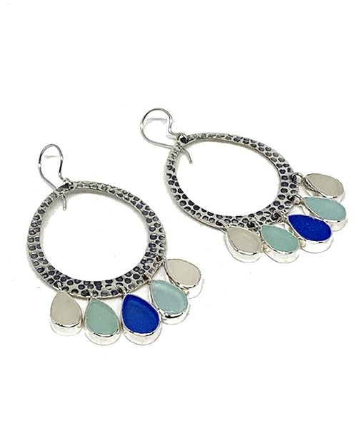 Five Drop Cobalt, Aqua & Clear Sea Glass Hoop Earrings