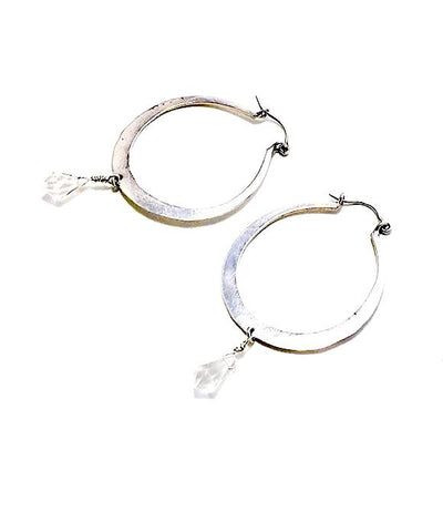 Hammered Hoop with Faceted Crystal Drop Earrings