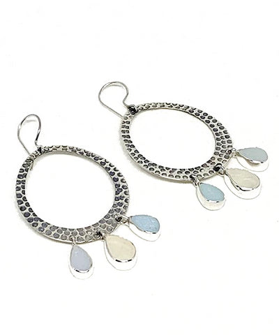 Triple Drop Light Blue and Clear Sea Glass Hoop Earrings