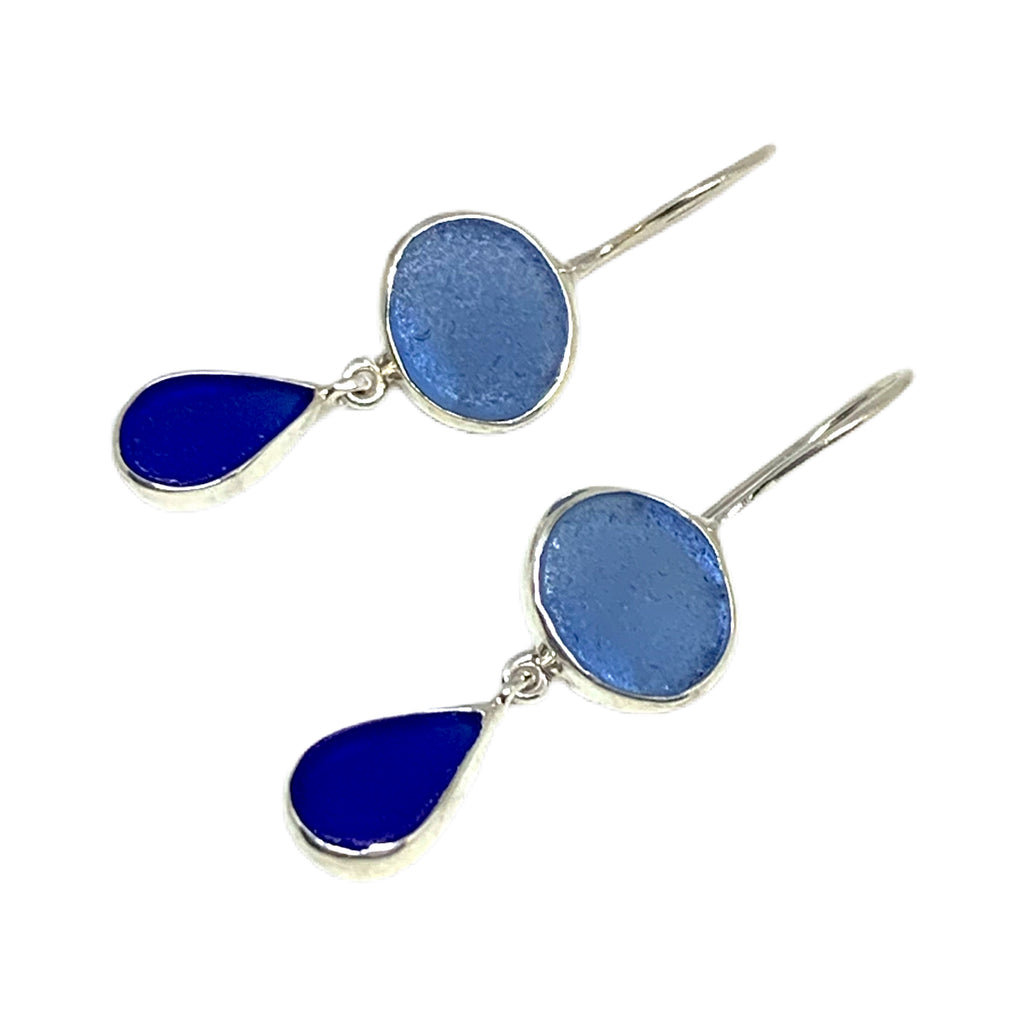 Blue with Cobalt Sea Glass Double Drop Earrings