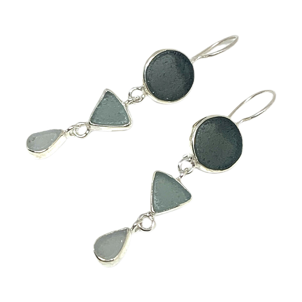 Shades of Gray Multi Shape Sea Glass Triple Drop Earrings