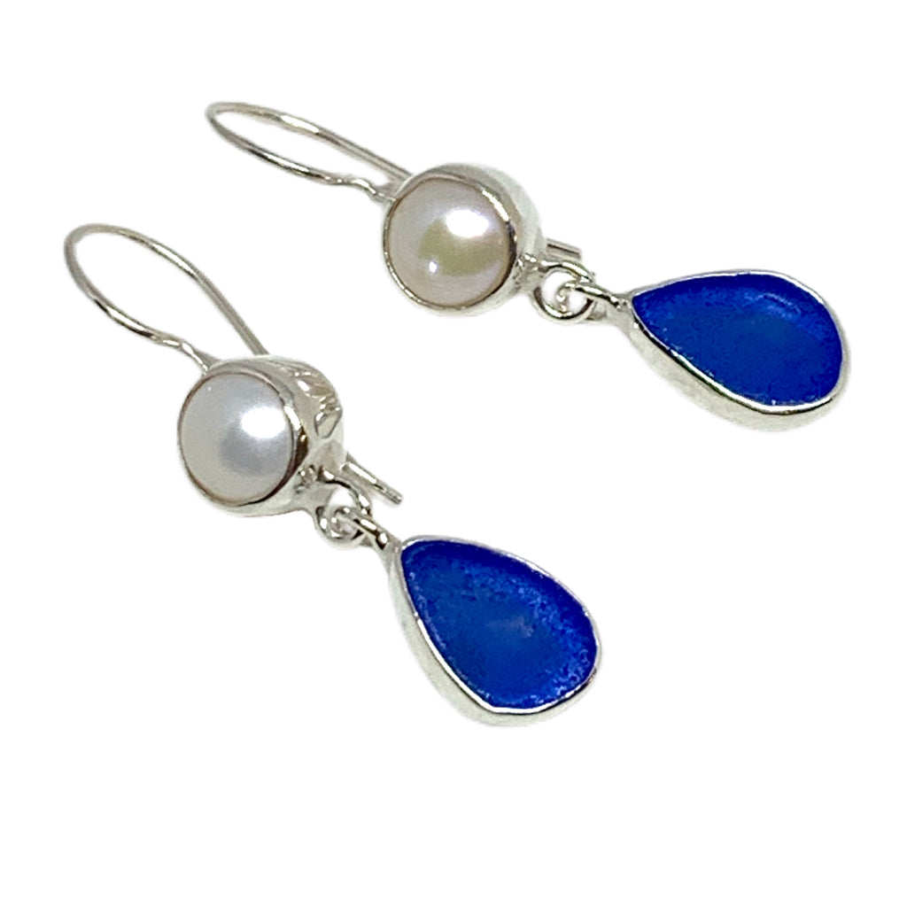 Natural Shape Textured Cobalt Blue Sea Glass with Pearl Earrings Double Drop Earrings