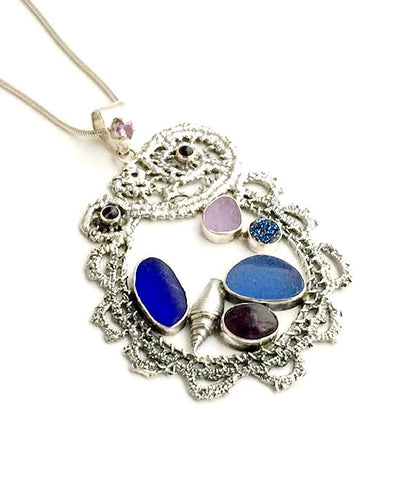 Cast Lace, Shell, Cobalt and Purple Sea Glass and Amethyst Stones Pendant