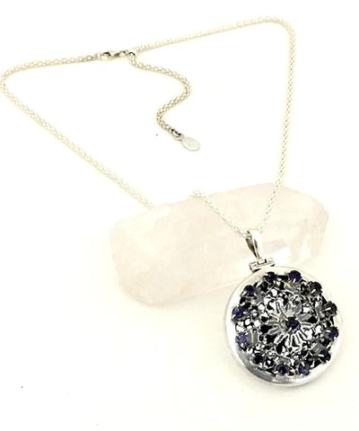 Lace Herb Locket with 13 Faceted Iolite Stones