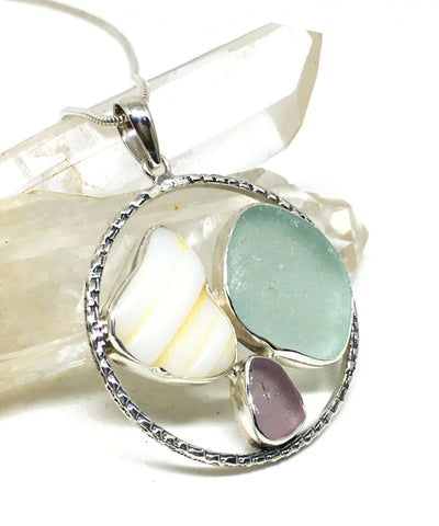 Textured Opaque White, Aqua & Lavender Sea Glass Hoop Pendant on Sterling Chain