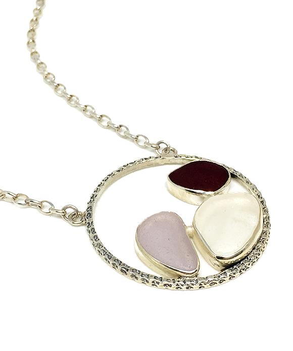 Rare Red, Lavender and Clear Sea Glass Hoop Necklace