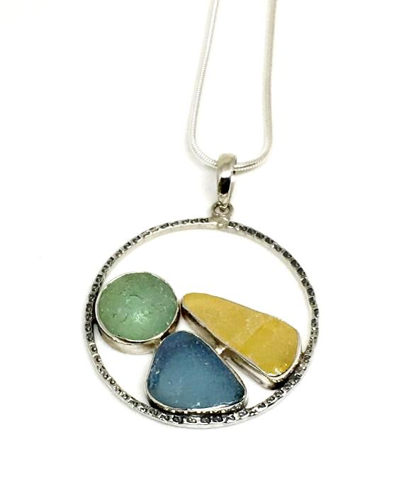 Sea Marble with Aqua & Amber Sea Glass Hoop Pendant on Sterling Chain